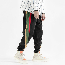 Autumn Fashion Casual Corduroy Pants Men Loose Fit Colorful Stripe Spliced Cargo Big Size M-5XL Streetwear Hip Joggers