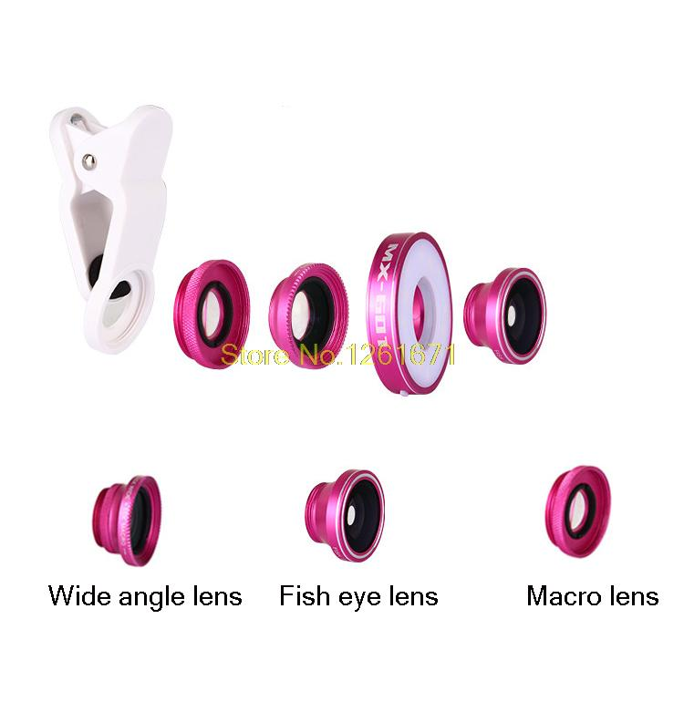Fisheye Phone Camera Lens Kit LED Selfie Fill-in light + Macro + Wide Angle Lens for iPhone 7 7plus Samsung S8 S7 Universal V04 7