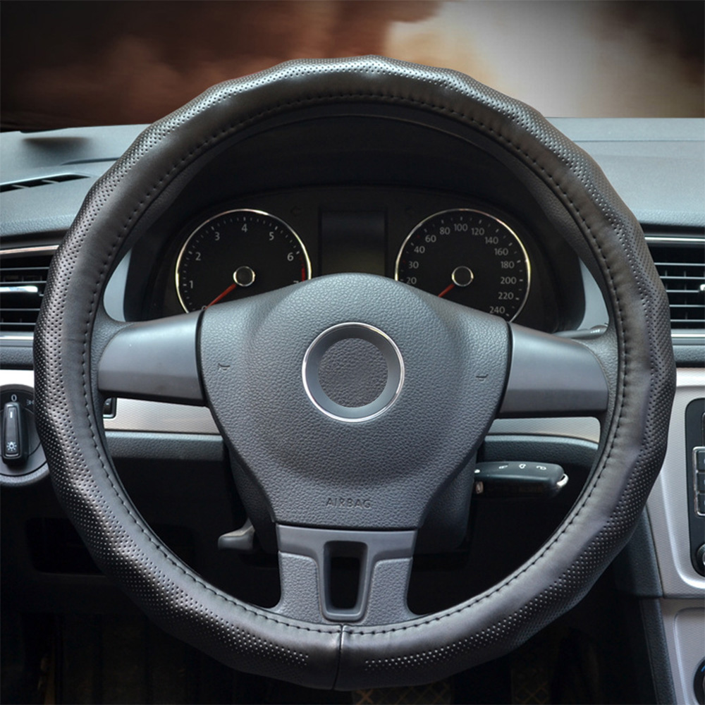 Leather Steering Wheel Cover Real Cowhide Braid Steering Wheel Cover Leather With Holes & Wave-shaped Contour