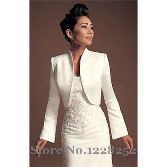 b00da42ca Otoño invierno chaqueta Bolero de la boda del satén chal blanco de novia  para vestido de