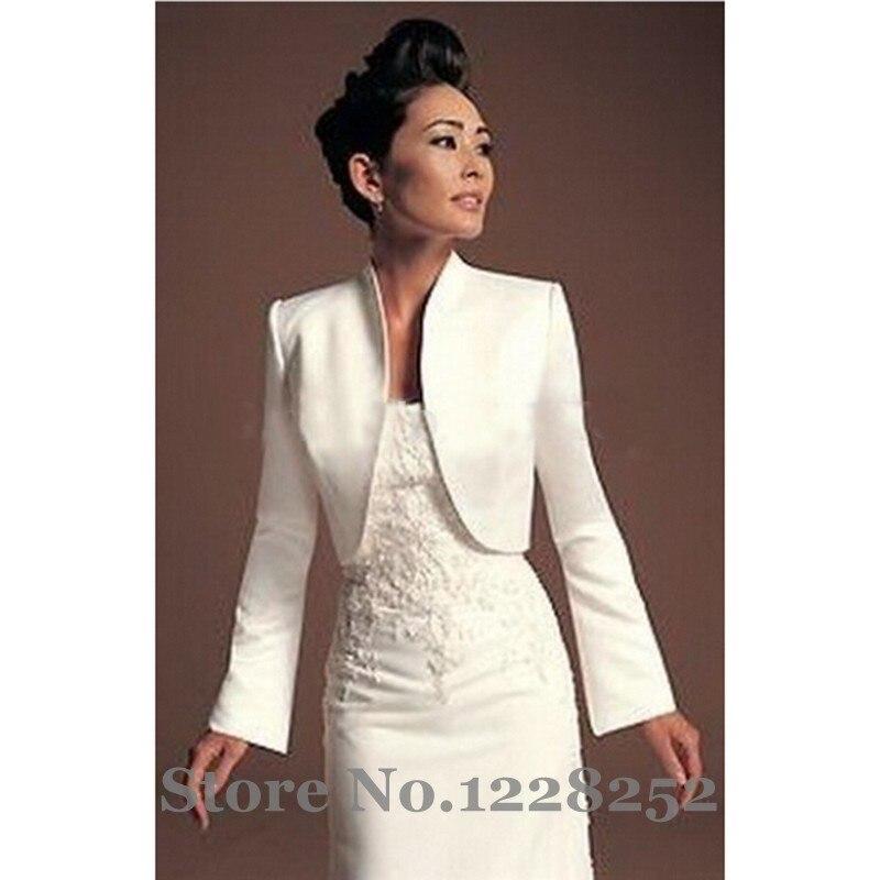 invierno otoo chaqueta bolero de novia de raso blanco chal de la novia vestido de mangas