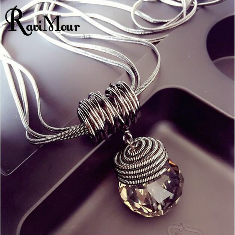 RAVIMOUR Long Necklace Black Chain Drop Crystal Woms