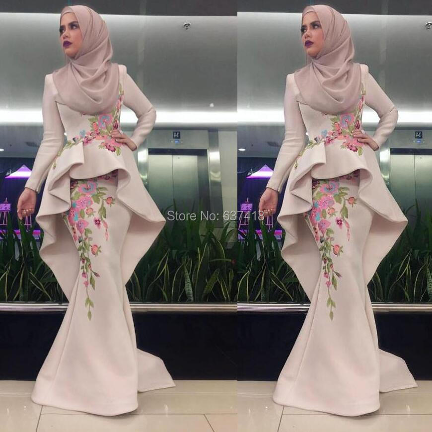 Vestido de Noche Hijab Long Mermaid Muslim Evening Dress Gowns with Embroidery and Beads Robe de