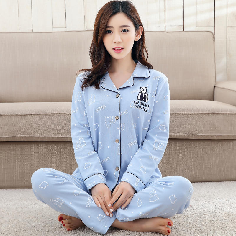 New Autumn Winter Women Cotton Pajama Sets Cardigan Long Sleeve Cartoon Polar bear Ladies Sleepwear Pyjamas Girls Pijamas Femme