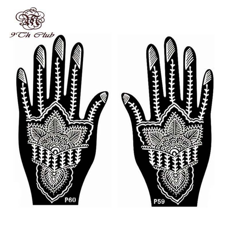 1 par (2 piezas) Izquierda mano Mehndi tatuaje de Henna plantillas ...