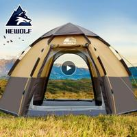 Hewolf Outdoor 3 4 Person Automatic Party Family Hiking Tent Huge Self Driving Tent Beach Tent Thickened Rainproof Camping Tent