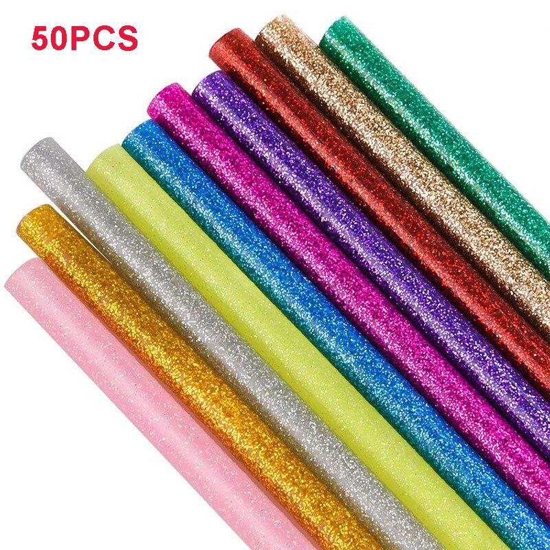 Bastões de Cola Quente colorido 7/11mm X 100 milímetros de Alta Viscosidade Elétrica Pistola de Cola De Silicone Ofício Poder Reparação ferramentas de BRICOLAGE Cola Bar 50 pçs/lote