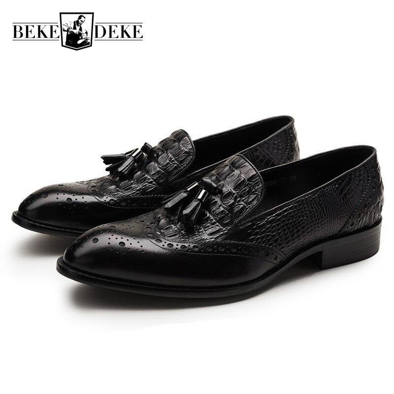 a37413abddc3 Véritable En Sur Designer brown Noir Gland Avec De 44 Mariage Mocassin  Mocassins Hommes Robe Homme Black Occasionnels Cuir Glissement Le Chaussures  ...