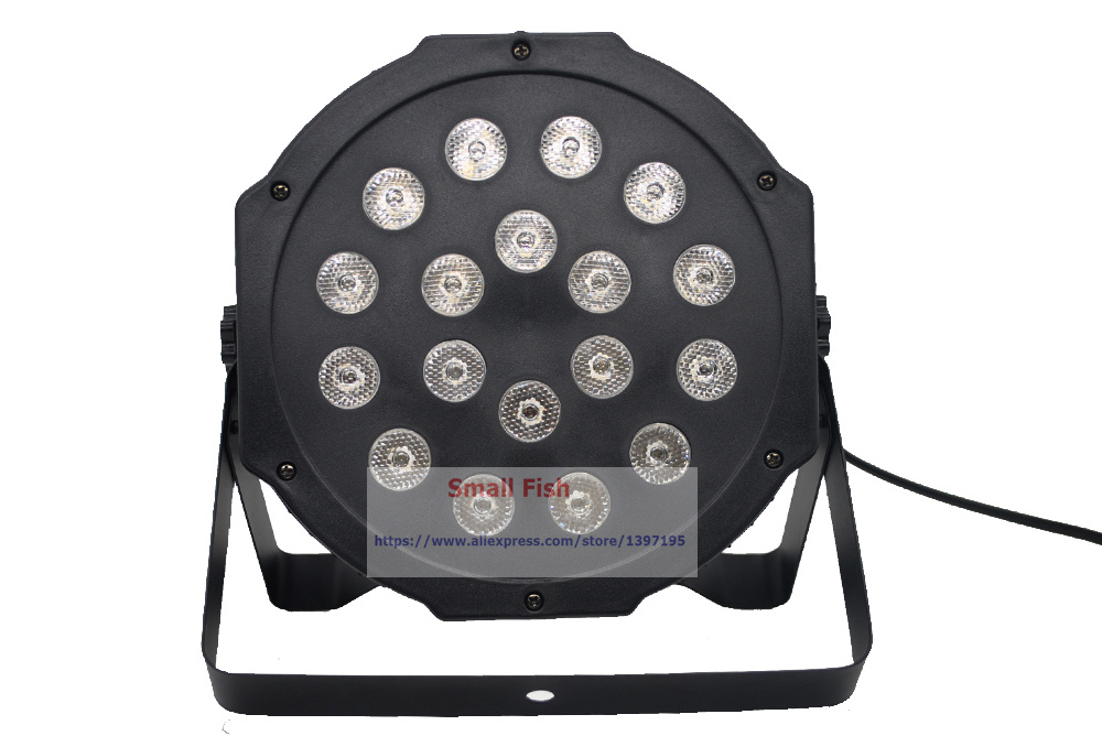 Hot selling 18*1W Led Stage Light RGB Flat LED Par Can Lights With DMX512 Strobe Laser Effect Professional Lighting Equipments