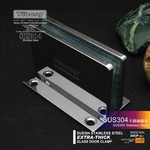 (1 par) VIBORG Deluxe SUS304 Acero Inoxidable Fundición Extra-grueso de alta resistencia Sin Marco Puerta De La Ducha Abrazadera Abrazadera De Cristal Clip de pantalla