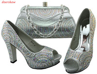 Nice Silver Italian Shoes With Matching Bags Latest Rhinestone Elegant Women S Shoes And Bag Set
