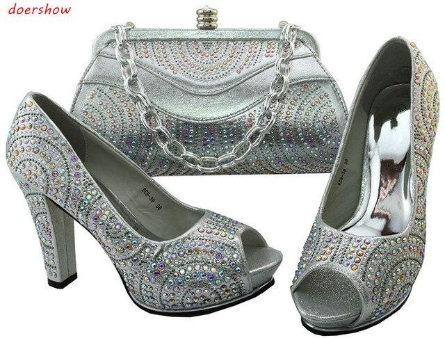 4bea9a0a8d25a Doershow Nice, En Argent Chaussures Italiennes Avec les Sacs Assortis  Dernière Strass Élégant Femmes de