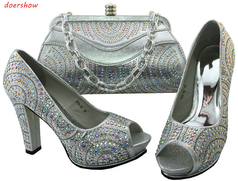 doershow Nice Silver Italian Shoes With Matching Bags Latest Rhinestone Elegant Women's Shoes and Bag Set Free Shipping BCH1-60