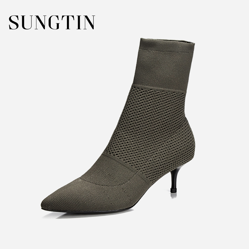 Sungtin Fashion Stretch Fabric Sock Boots Women Booties Spring Sexy Pointed Toe High Heels Lady Ankle Boots Stilettos купить в Москве 2019