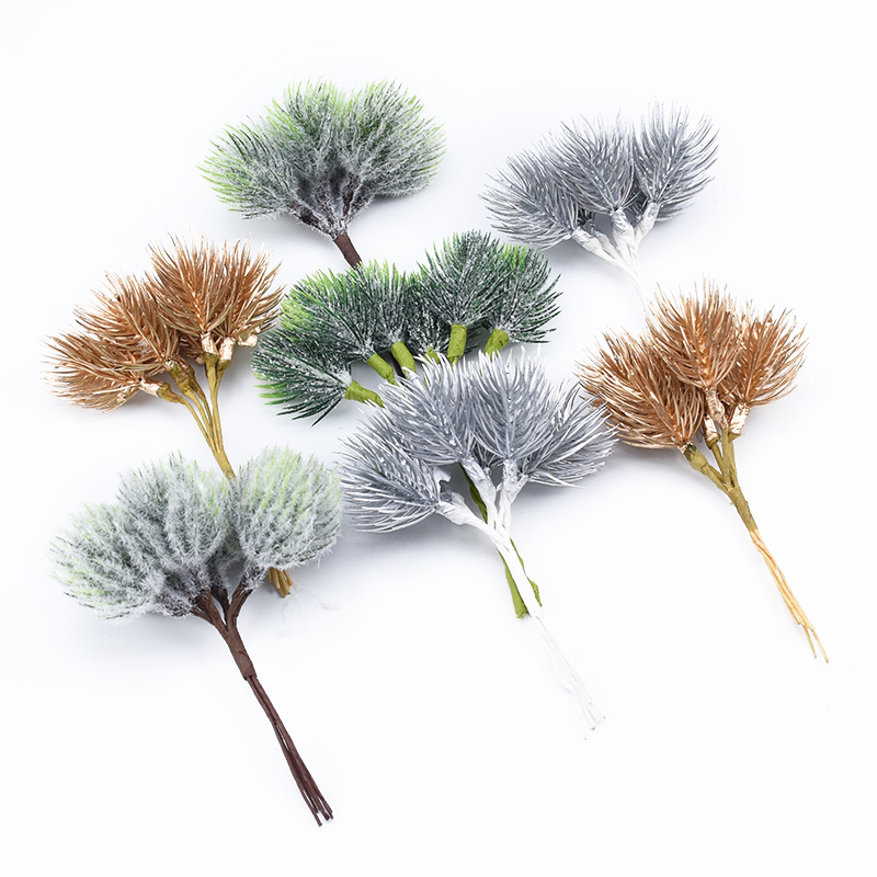 12PCS Christmas Decorations For Home Wedding Bridal Accessories Clearance Home Decor Cheap Silk Plastic Flower Artificial Plants