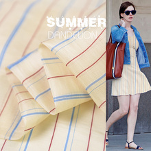100cm*140cm Vintage Slub Natural Silk Linen Stripe Fabric For Dress