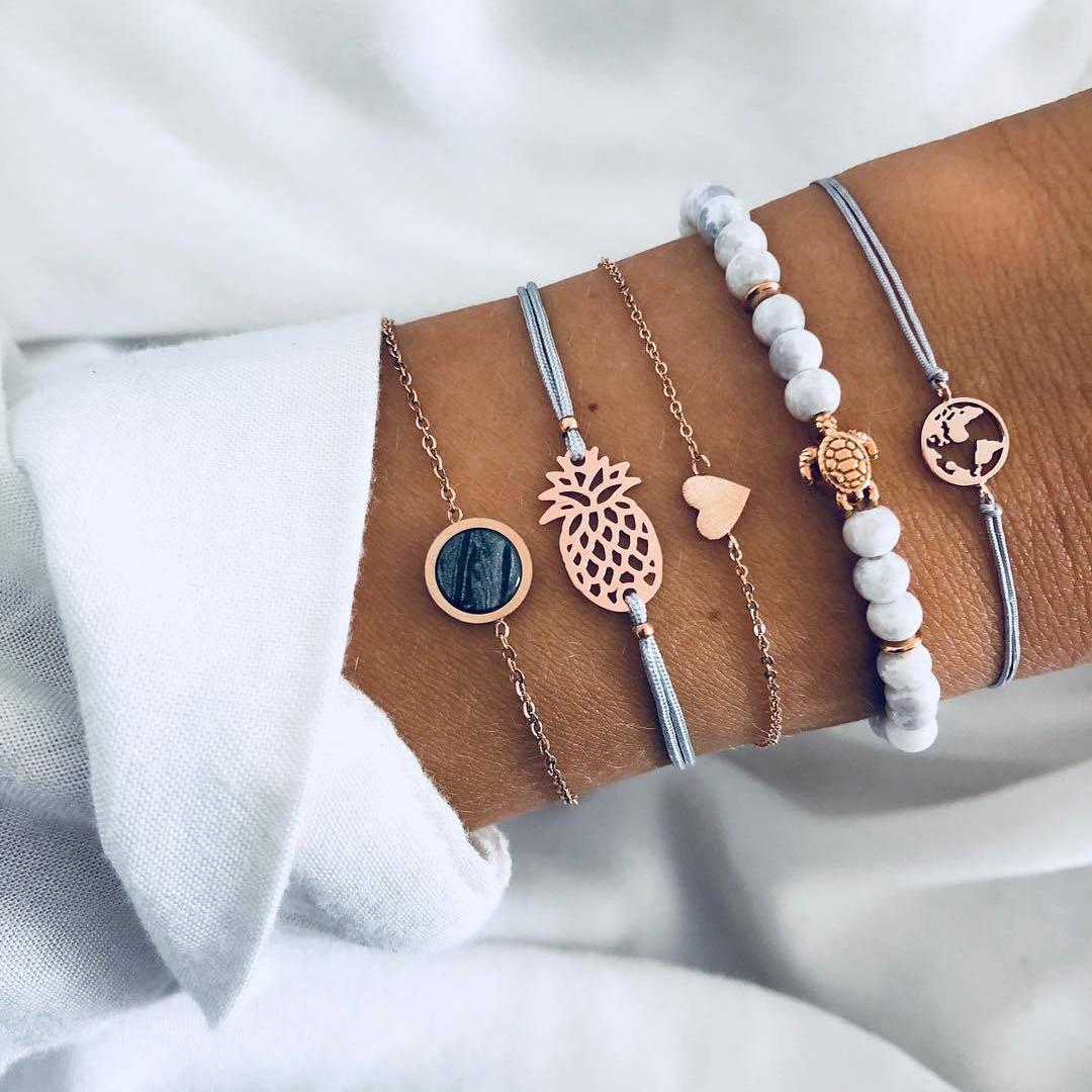 5 Stück / Set böhmische Ananas Schildkröte Herz Armband mit Erde setzt für Frauen eine Reihe von verschlungenen Seilen Armbänder Mujer Steinschmuck und ...