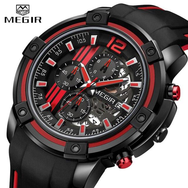 Relojes 2020 MEGIR ساعة رجالية فاخرة كرونوغراف سيليكون مقاوم للماء الرياضة العسكرية رجالي ساعات التناظرية الكوارتز Relogio Masculino