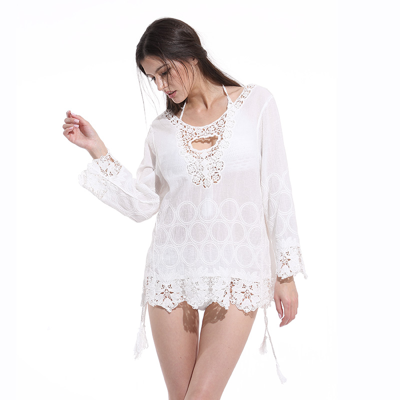 saida de praia pareo beach dress tunic beachwear swimwear women lace bathing suit cover ups bikini 2018 crochet beach dress