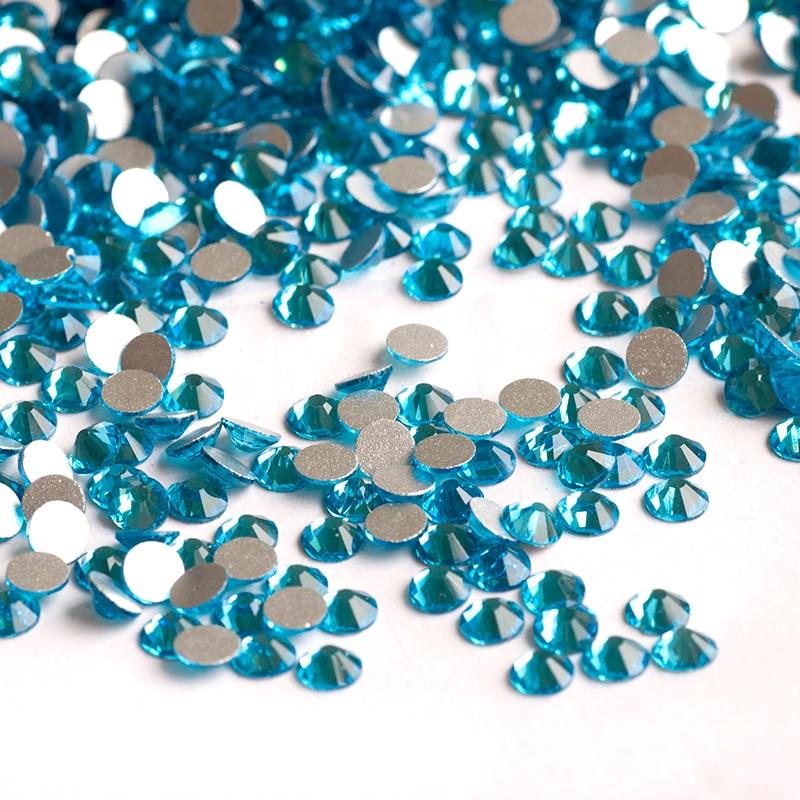 2058 Non Hotfix SS16 1440Pcs Aquamarine Nail Art Jewelry Charms Decorations For Nails Stickers Manicure Design DIY Rhinestones