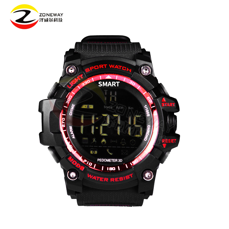 2017 New Sport Smart Watch EX16 Buzzer Sound Alarm Sport Monitor IP67 Waterproof Burned Calory Social Interaction Remote Camera