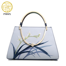 Pmsix 2017 New Metal Handle Split Leather Women Bag Embroidery Chain Shoulder Bag Fashion Ladies Purses And Handbags P120052