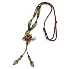 Hot Vintage Jewelry Unique Ethnic Long Rope Necklace Pendant Ceramic Bronze Butterfly Necklace Boho Femme Collier