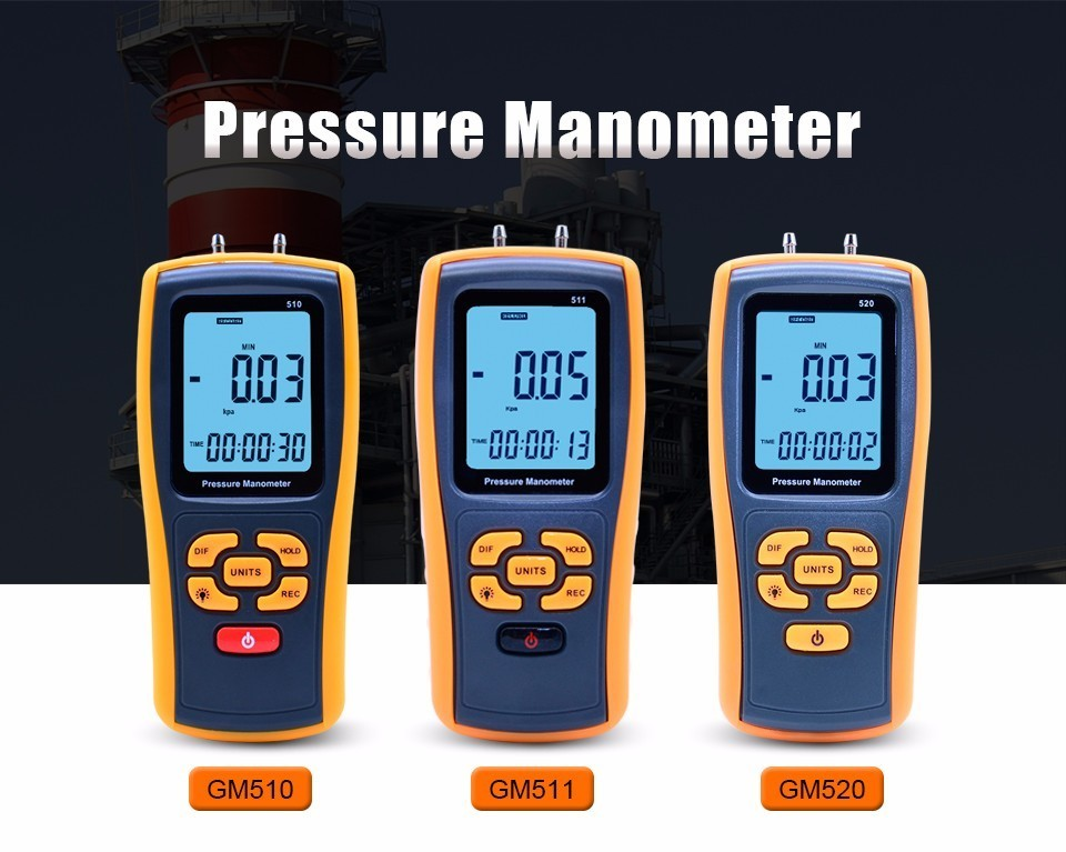 High-precision digital pressure gauge GM510/GM511/GM520 micro-pressure gauge differential pressure meter Air pressure gauge 0 1kpa micro differential pressure gauge te2000 high precision 1 8 npt air pressure meter barometer best sale