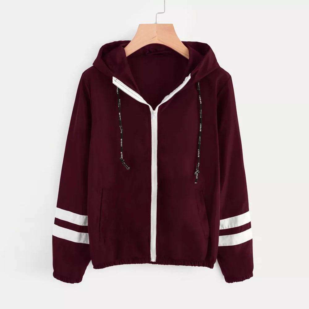 HTB1IYZ4U4TpK1RjSZR0q6zEwXXaX Patchwork Thin Skinsuits Hooded Jacket Women Long Sleeve Zipper Pockets Windbreaker Jacket 2019 Autumn Coat Sportswear W510