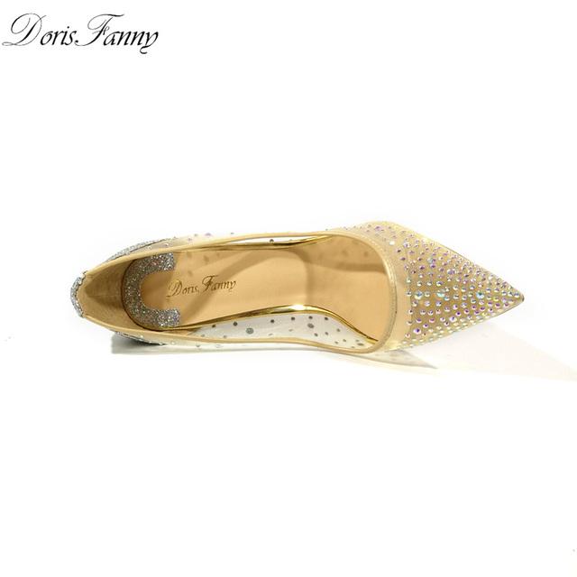 DorisFanny silver bling fashion design women's high heel pumps summer see through Party Wedding stiletto shoes 12cm thin heels