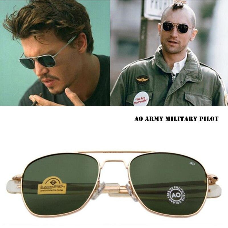 Aviação Óculos De Sol Dos Homens da forma Clássica AO Sol Óculos Para O Sexo Masculino Militar Do Exército Americano Vidro Óptico de Lentes de Oculos