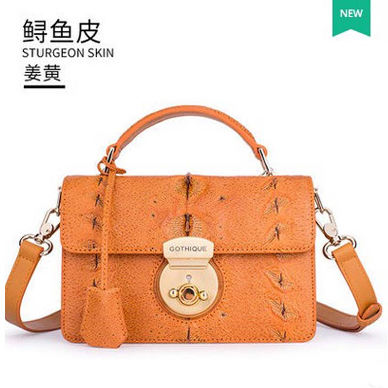 2018 gete  hot new Russian sturgeon skin women bag  single shoulder bag women handbag metal Lock russian phrase book