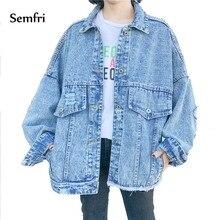 Semfri Blue Women Denim Jacket for Korean Pocket Jean Basic Coat Winter Autumn 2019 Female Cowboy Clothes Loose Fit Casual