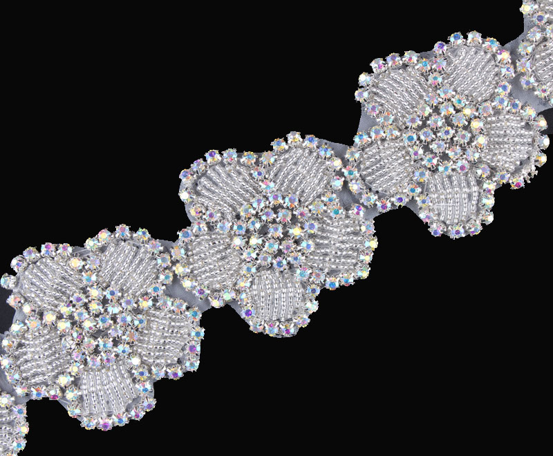 10Yard New Design Flower Shape Beaded Rhinestone Applique Trimming Hot Fix  Crystal Applique Accessories For Girl Wedding Dress-in Rhinestones from  Home ... dea46d87fbd0