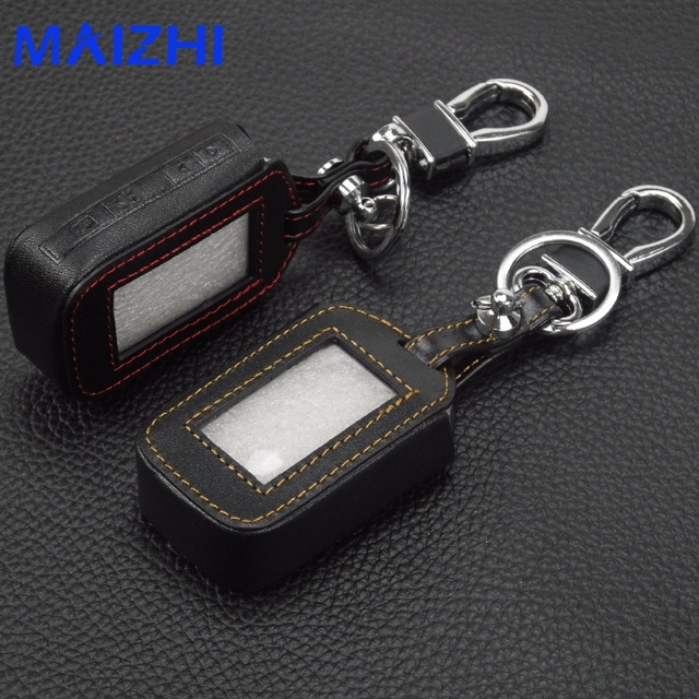 Jingyuqin For Starline E60 E61 E62 E91 4 Buttons Remote Leather Key Cover Case Two Way Car Alarm System Key Chain