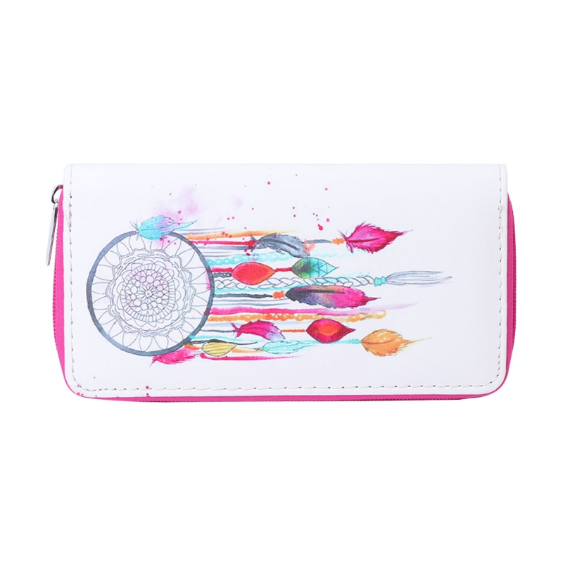 New 2018 Women Clutch Wallet Faux Leather Purse Feather Dream Catcher Print Cards Holder