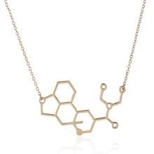 Wholesale Jewelry 10pc Molecule LSD Brass Pendant Necklace Mix Color Chemistry Science Women And Men Couple Love Jewelry