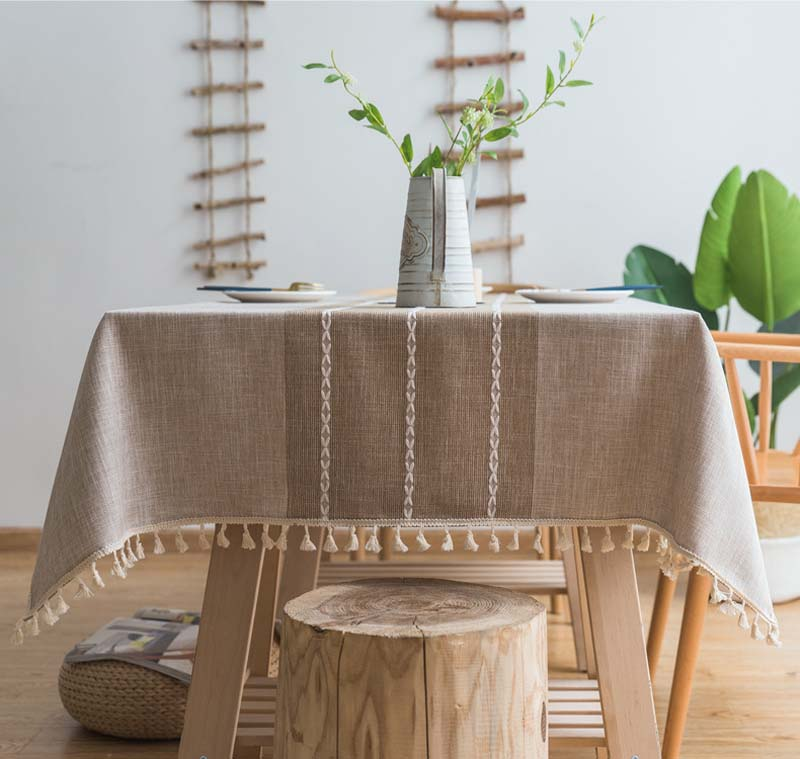 Tassel Plaid Decorative Linen Tablecloth Oilproof Thick Rectangular Wedding Dining Table Cover Coffee Grey Tea Table Cloth