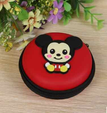 Disney cartoon mickey tas voor Hoofdtelefoon opslag munt pluche purse mooie sleutel tas munt zak datalijn doos voor opslag