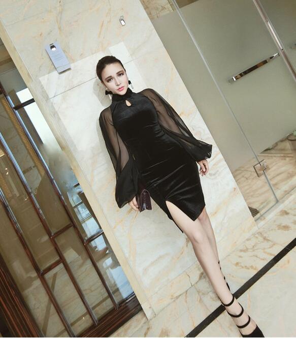 JOYINPARTY Bodycon Mini Dress Black Sheath Lantern Sleeve Women Sexy Qipao Short Dress Hollow Mesh Cheongsam