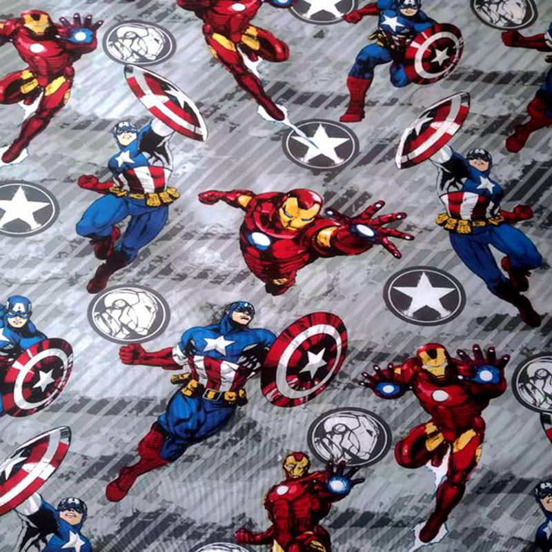 140cm Wide Comic The Avengers Cotton Fabric  Captain America Five Stars Printing Fabric Sewing Patchwork DIY Children Clothing