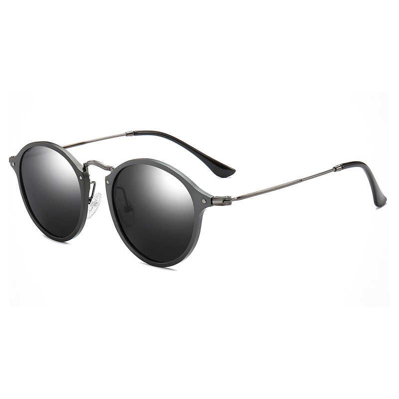 Marka projekt Retro owalne okulary przeciwsłoneczne mężczyźni spolaryzowane ze stopu magnezu z Aluminium w stylu Vintage Unisex jazdy okulary przeciwsłoneczne żywica mężczyzna okulary