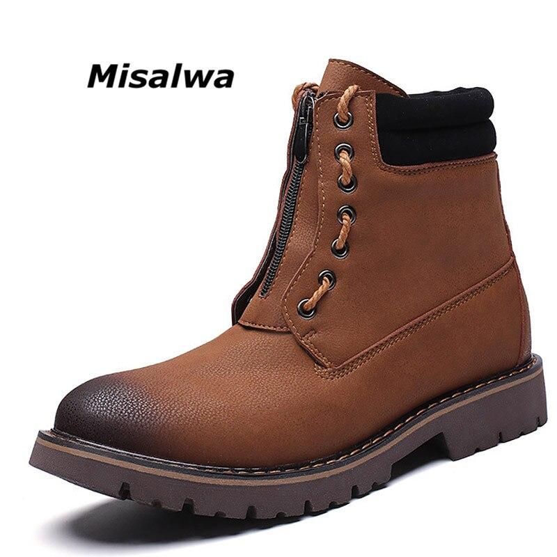 Misalwa для мужчин Стильный ботильоны для работы на платформе высокие резиновые обувь молнии армейский зеленый сапоги и ботинки девоче