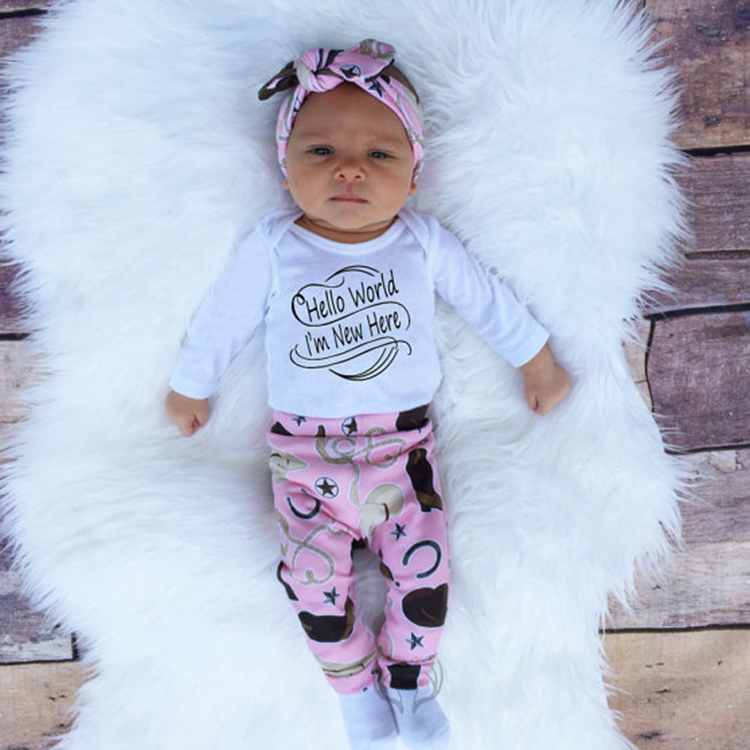 2017 Autumn New baby girl clothing sets cartoon newborn set  letter Romper  + Pants + Hat + Headband 4pcs. baby girl suit  SY160 new baby girl clothing sets lace tutu romper dress jumpersuit headband 2pcs set bebes infant 1st birthday superman costumes 0 2t