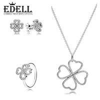 EDELL100 % 925 sterling argent trèfle en forme de fleur zircon creux élégant anneau modèles féminins anneau Oreille Goujons Collier Pendentif