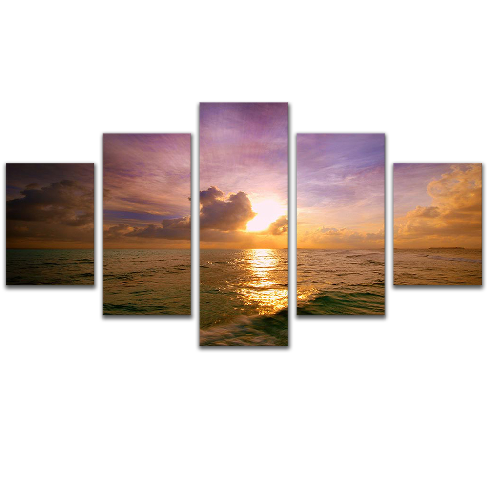 Unframed 5 HD Canvas Prints The Sea Sunset Giclee Modular Picture Prints Wall Pictures For Living Room Wall Art Decoration