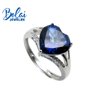 Bolaijewelry,simple style heart shaped tanzanite color topaz and sky topaz gemstone ring 925 silver fine jewelry for girl party