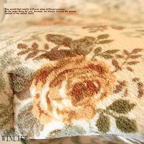 WINLIFE tapis de chambre rustique européen Roses méditerranéennes tapis de chambre moderne grands tapis Beige - 3