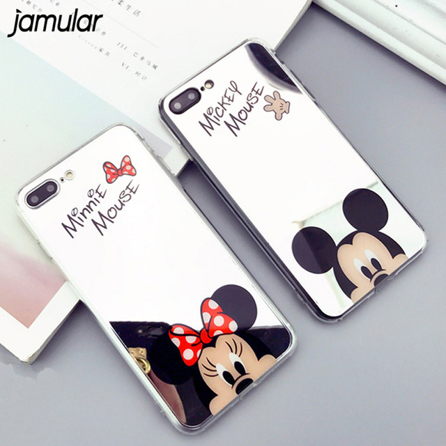 new products 124b2 e75b6 US $2.24 25% OFF|Cartoon Mickey Mouse Mirror Phone Cases for iPhone X XS  MAX XR SE 5S Case Silicone Soft Case for iPhone 7 8 Plus 6 6S Cover-in  Fitted ...