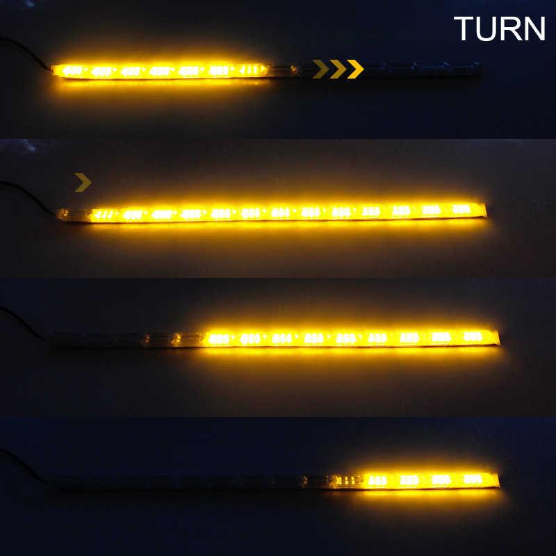 OKEEN 2 шт. белый лед синий красный дневной ходовой светильник переключение бегунов угол течет желтый указатель поворота DRL гибкая светодиодная лента